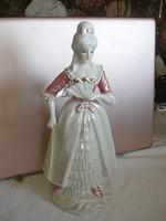 Nagyon ritka hibátlan lüszteres porcelán figura rózsaszín ruhás kedves női szobor 23,5 cm