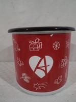 Fém - Osztrák - karácsonyi - új - minőségi - vastag anyagból - 3 dl - mélypiros zománcozott bögre