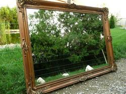 Nagy méretű, eredeti aranyozású, antik blondel falitükör gyönyörű állapotban 115*87 cm (új tükörlap)