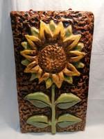 Régi retro nagyméretű kerámia falikép , napraforgó