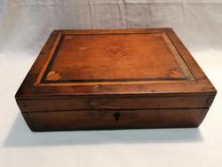 Antik intarziás fa doboz