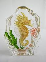 Csikóhal üvegdísz üveg levélnehezék