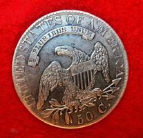 1826 SAPKÁS MELLSZOBOR LIBERTY USA ÉRME RITKA EZÜST FÉL DOLLÁR MAGAS ÉRTÉK XF !