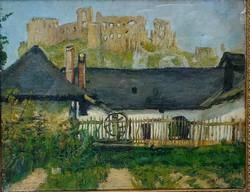 Mednyánszky László Báró (1852-1912): Beckó vára, előtte házakkal