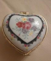 Heart shaped porcelain jewelry box