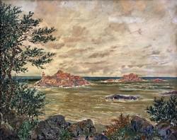 "Cesare Bentivoglio (Italy, 1868 - 1952)  "" Hullámzó tenger.. """