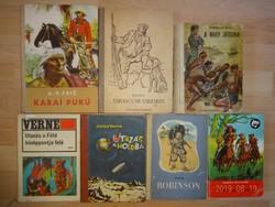 Indiános és más kalandregények (Verne, Robinson, stb), 7 db egyben