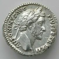 Ezüst Antonius Pius Dénár IU. 145-161 szép állapotban
