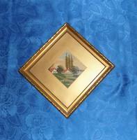 Antik goblein gobelin kép üvegezett képkeret Tanyasi táj 29*29 cm