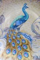 Kézzel festett pávás falitányér