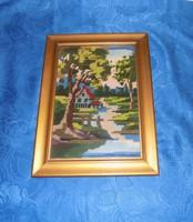 """Goblein gobelin """"Ház a folyóparton"""" kép üvegezett képkeretben 28*37,5 cm"""