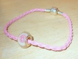 Rózsaszínű Pandora jellegű 925 charm Karlánc