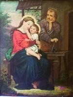 Franz Eder Szent család, antik festmény, 1872. XIX. századi Németalföldi Művész alkotása.