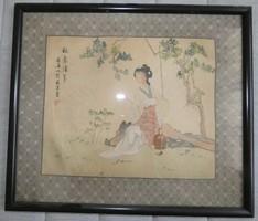Japán selyemfestmény 34 cm x 40 cm gyönyörű festmény!!!