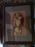 László 2012 aláírással kortárs festő műve. 30x20-as kép, 50x40-es hibátlan keretben, üveg alatt.