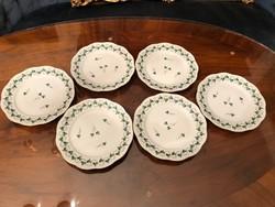 Süteményes tányér, herendi porcelán, petrezselyem minta, 6db.