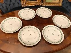 Lapos tányér, herendi porcelán, petrezselyem minta, 6db,