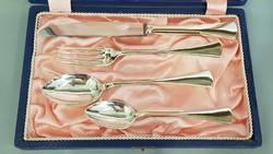 Gyönyörű szép antik ezüst keresztelő készlet