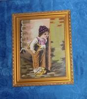 """Régi goblein gobelin """"Iskola elől bújkáló kisfiú"""" kép üvegezett képkeret 41,5*50,5 cm"""