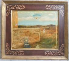 Vetlényi Zsolt - Heartland (1998) 50 x 60 cm olajfestmény, gyünyörű keretben!!!