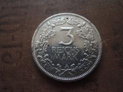 Német 3 Reichsmark 1925 A ritkább!