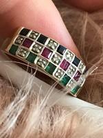 14K 585 arany Gyémánt/brill,Rubin Zafír Smaragd gyűrű 54-es méret