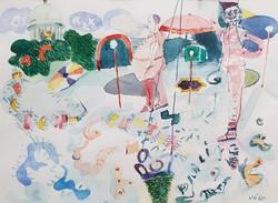 Végh András - Esztergomi búcsú 24 x 31 cm akvarell, papír 1998 keretezve