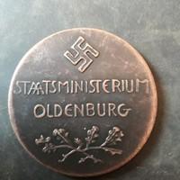 Német náci állami emlékérem,5 cm átmérő!!!