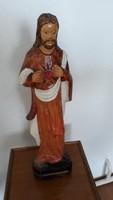 Jézus szobor, fa, színezett