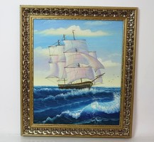 Cozy original oil painting, beautiful sailing boat and sea landscape painting, luxury golden frame