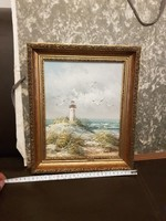 Helyes kis olajfestmény, világítótoronnyal, tengerrel, vászon, szép keret