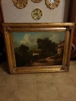 Antik hatalmas Biedermeier gyönyörű festmény!