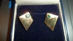 Geometrikus arany fülbevaló / smaragd