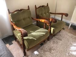Koloniál fotel és kanapé ülőgarnitúra zöld bársony