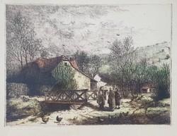 Kovács Jenő - Pletykázás 24 x 33 cm színezett rézkarc