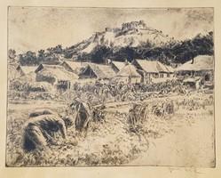 Aszódi Weil Erzsébet - Siklósi vár alatt 30 x 39 cm rézkarc
