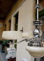 Art deco - Streamline - Bauhaus 4 karos, 5 égős csillár - vajszínű ernyők
