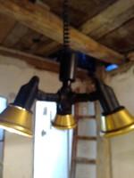 Retro 3 ágú állítható magasságú fekete-arany mennyezeti lámpa,csillár