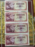 100 dínár 1986 4db