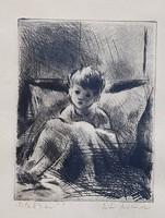 Iván Szilárd - Este 8-kor 19 x 15 cm rézkarc
