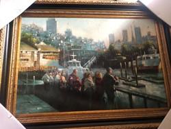 Vàroskép-utcakép- ismeretlen amerikai művésztől olaj festmény