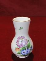 Herendi porcelán váza, gyönyörű virágmintával, 9 cm magas.