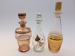 Régi italos dugós üveg aranyozott likőrös palack 3 db