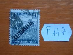 4 FILLÉR 1918 Köztársaság - felülnyomat Arató bélyegeken F147  #