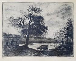 Élesdy István - Itatás 29 x 39 cm rézkarc