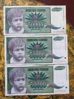 50000 dínár 3 darab 1992