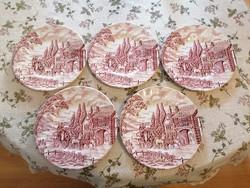 Angol, jelenetes desszertes tányérok. Gyönyörű, magasfényű, hibátlan darabok!