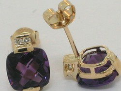 Gyémánt és ametiszt arany 585-ös fülbevaló