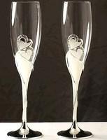 Esküvői pezsgőspohár , díszdobozban
