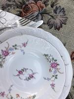 7 db leveses tányér - Wawel rózsás, domború mintás mélytányér - lengyel porcelán mély tányérok